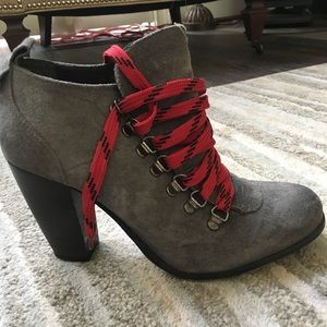 Size 9 Grey and Red Lace Up Booties